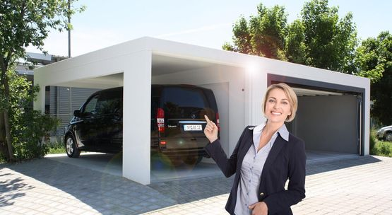Fertiggarage und Carport Kombination